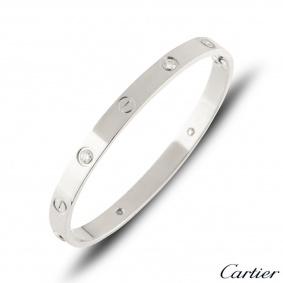 Cartier White Gold Half Diamond Love Bracelet Size 20 B6035820